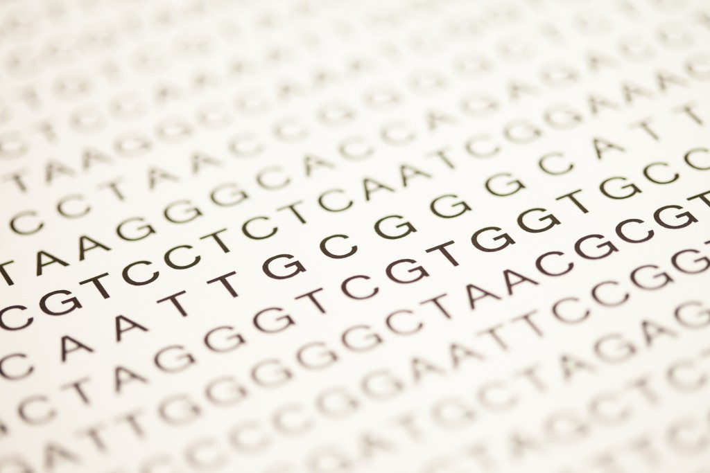 List of dna analysis in capital letters in black